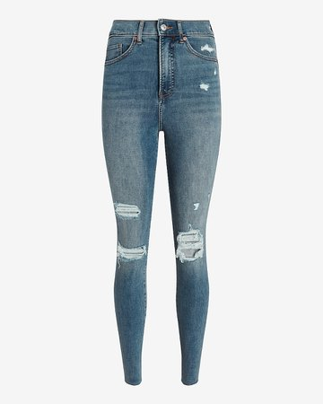 Super High Waisted Medium Wash Ripped Skinny Jeans   Express