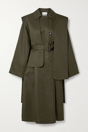 Layered Double-breasted Woven Trench Coat - Army green