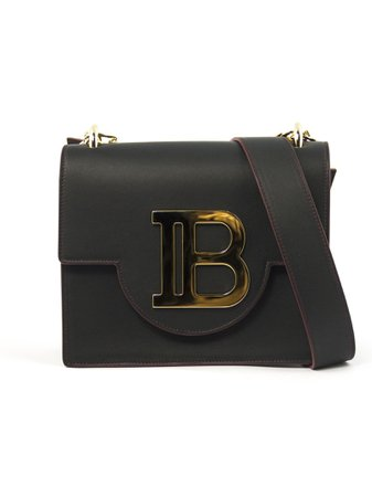 Balmain Black Leather Shoulder Bag