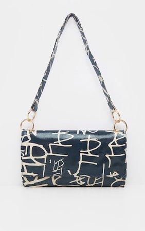 Black Script Print Shoulder Bag | Accessories | PrettyLittleThing