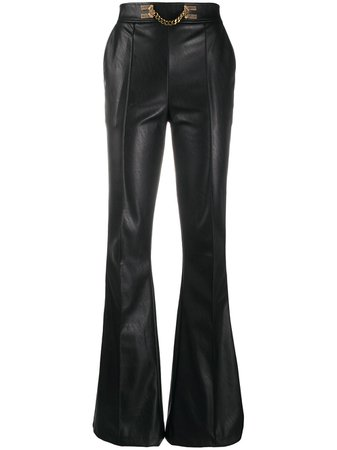 Shop black Elisabetta Franchi flared leather trousers with Express Delivery - Farfetch