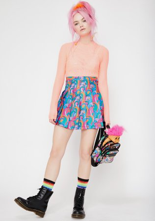 Good Luck Trolls x Dolls Kill Troll Rainbow Swirl Skirt | Dolls Kill