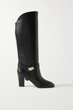 Eden Leather Knee Boots - Black