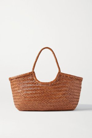Nantucket Large Woven Leather Tote - Tan
