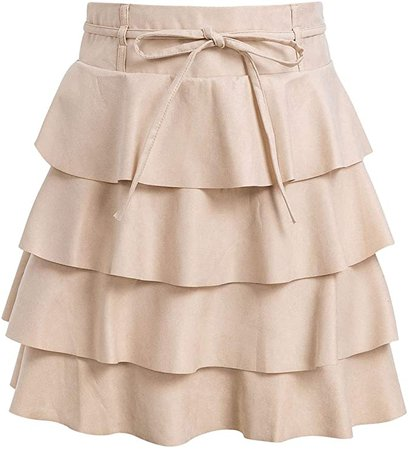 BerryGo Women's Ruffle A Line Skirt High Waist Mini Skirts for Winter Dusty Pink