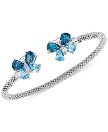 Macy's Amethyst (2-3/8 ct. t.w.) & White Zircon (1/4 ct. t.w.) Butterfly Mesh Cuff Bracelet (2-3/8 ct. t.w.) in 14k Rose Gold-Plated Sterling Silver (Also in Blue Topaz) & Reviews - Bracelets - Jewelry & Watches - Macy's