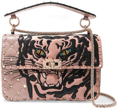 Garavani The Rockstud Spike Medium Appliquéd Quilted Leather Shoulder Bag - Pink