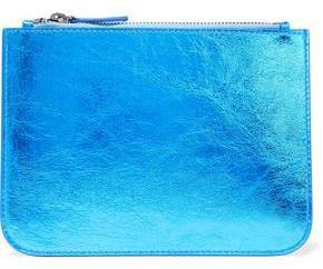 Iris & Ink Blake Metallic Cracked-leather Clutch