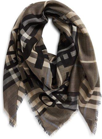 Horseferry Print Check Wool & Silk Scarf