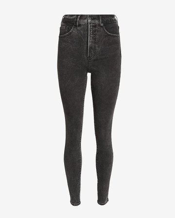 Super High Waisted Black Skinny Jeans