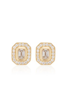 Zoe Chicco 14K Emerald Cut Diamond Studs With Pave Halo