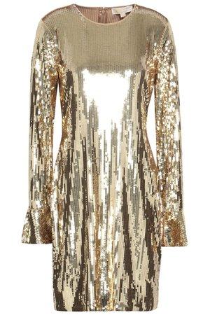 Gold Sequined stretch-jersey mini dress  | MICHAEL MICHAEL KORS