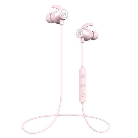 Pale Pink Bluetooth Earphones