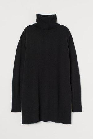 Wool Turtleneck Sweater - Black