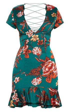 Emerald Green Criss Cross Back Frill Hem Shift Dress | PrettyLittleThing