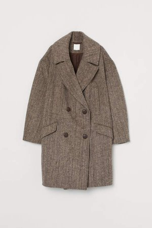 Oversized Wool-blend Coat - Brown