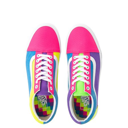 Vans Old Skool Neon Color-Block Skate Shoe - Pink / Purple / Yellow | Journeys