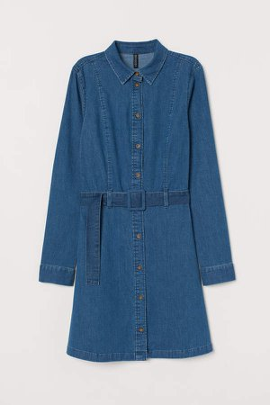 Denim Dress with Belt - Blue