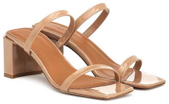 BY FAR Nude Patent Tanya Mules