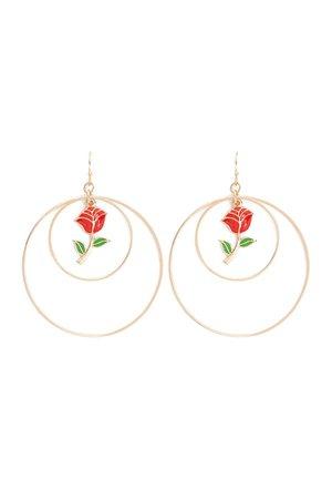 Rose Hoop Drop Earrings | Forever 21