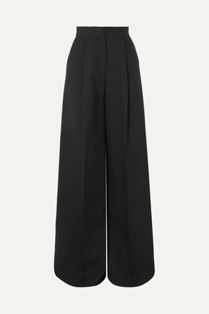 Black Pleated crepe wide-leg pants | Alexander McQueen | NET-A-PORTER
