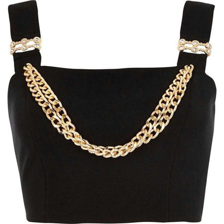 black top with gold chain