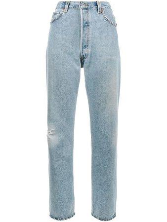 Re/Done Calça jeans boyfriend cintura alta