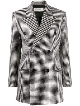Shop white & black Saint Laurent houndstooth double-breasted coat with Express Delivery - Farfetch