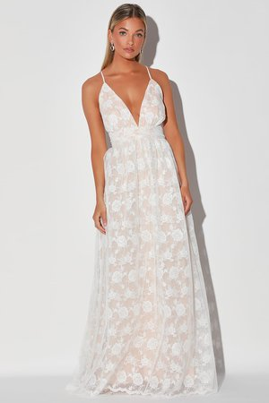 Lovely White Maxi Dress - Embroidered Dress - Backless Dress - Lulus