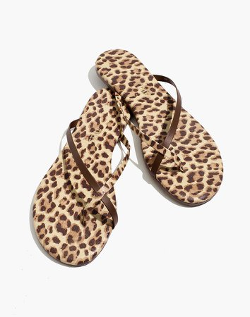 x TKEES Riley Leather Sandals in Leopard Print