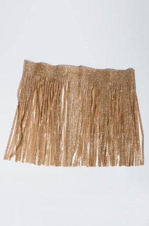 AKIRA Fringe Rhinestone Waist Belt in Gold