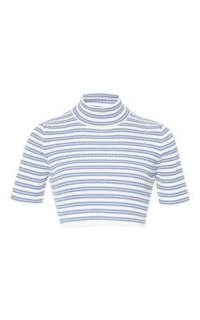 Blue And White Striped Knit Crop Top by Alessandra Rich