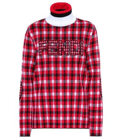 Plaid wool turtleneck sweater