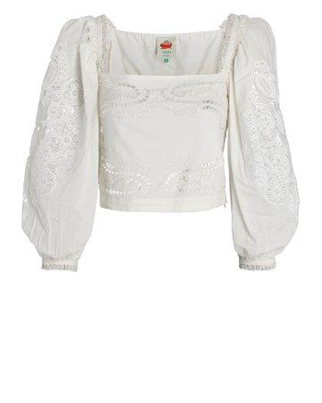 Farm Rio Embroidered Puff Sleeve Crop Top | INTERMIX®