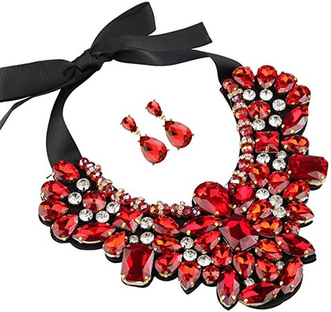 Holylove Statement Necklace Costume Jewelry Sets for Women with Earring