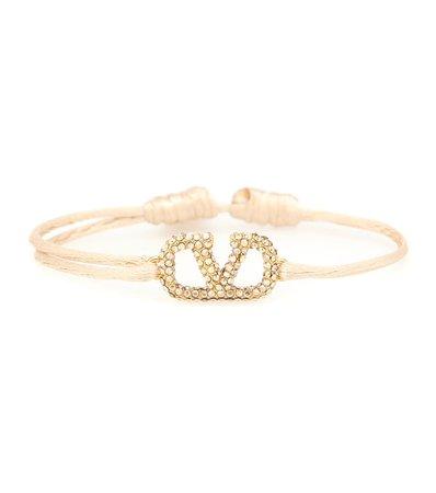 Valentino - Valentino Garavani VLOGO crystal-embellished cord bracelet | Mytheresa