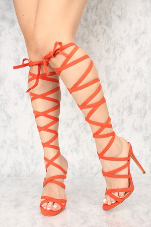 SEXY ORANGE LACE UP SINGLE SOLE HIGH HEELS FAUX SUEDE