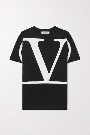 Oversized Printed Cotton-jersey T-shirt - Black