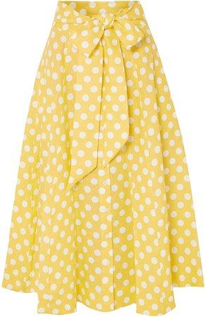 Diana Belted Polka-dot Linen Midi Skirt