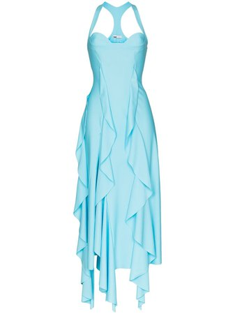 Shop blue GmbH asymmetric ruffled gown with Express Delivery - Farfetch