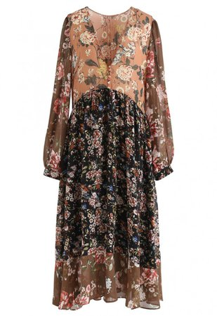 Scattered Floral Buttoned Chiffon Dress - DRESS - Retro, Indie and Unique Fashion