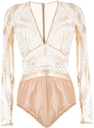 embroidered long-sleeve bodysuit