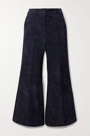 Bruce Cropped Suede Wide-leg Pants - Navy