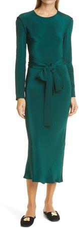 Saranac Long Sleeve Silk Dress