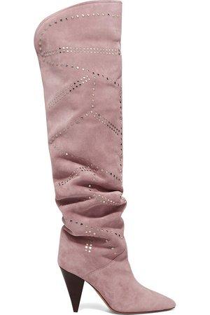 Isabel Marant | Ladra studded suede knee boots | NET-A-PORTER.COM