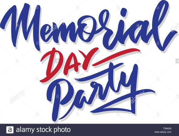 Happy Memorial Day party sign. Hand lettering. Vintage typography illustration isolated on white Stock Vector Art & Illustration, Vector Image: 242994901 - Alamy