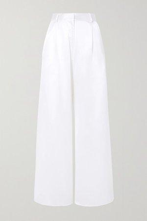 Belle Silk-satin Wide-leg Pants - White