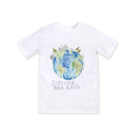 Just One, Bee Kind Earth Day Organic Toddler Watercolor Charity T-Shirt
