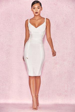 Clothing : Bandage Dresses : 'Belice' White Tie Waist Bandage Dress