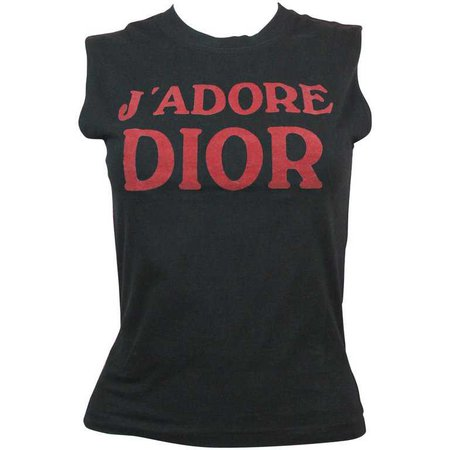 Christian Dior J'Adore Dior Logo T-Shirt in Black, AW 2001, Size 8 US at 1stdibs